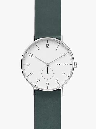 Skagen SKW6466 Men's Aaren Leather Strap Watch, Green/White