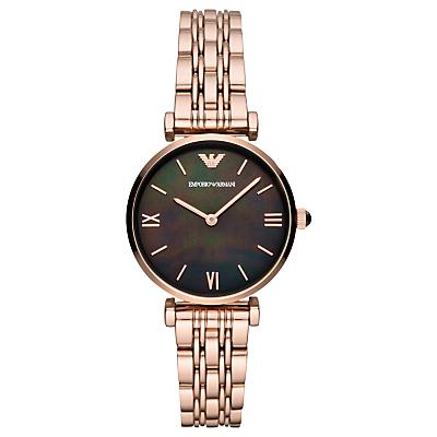 Emporio Armani AR11145 Women's T-Bar Bracelet Strap Watch, Rose Gold/Black
