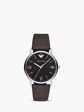 Emporio Armani AR11153 Men's Leather Strap Watch, Brown/Black