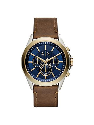 Armani Exchange AX2612 Men's Chronograph Date Leather Strap Watch, Brown/Blue