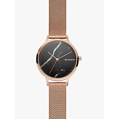 Skagen SKW2721 Women's Anita Mesh Bracelet Strap Watch, Rose Gold/Black