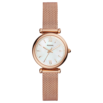 Fossil ES4433 Women's Mini Carlie Bracelet Strap Watch, Rose Gold/White