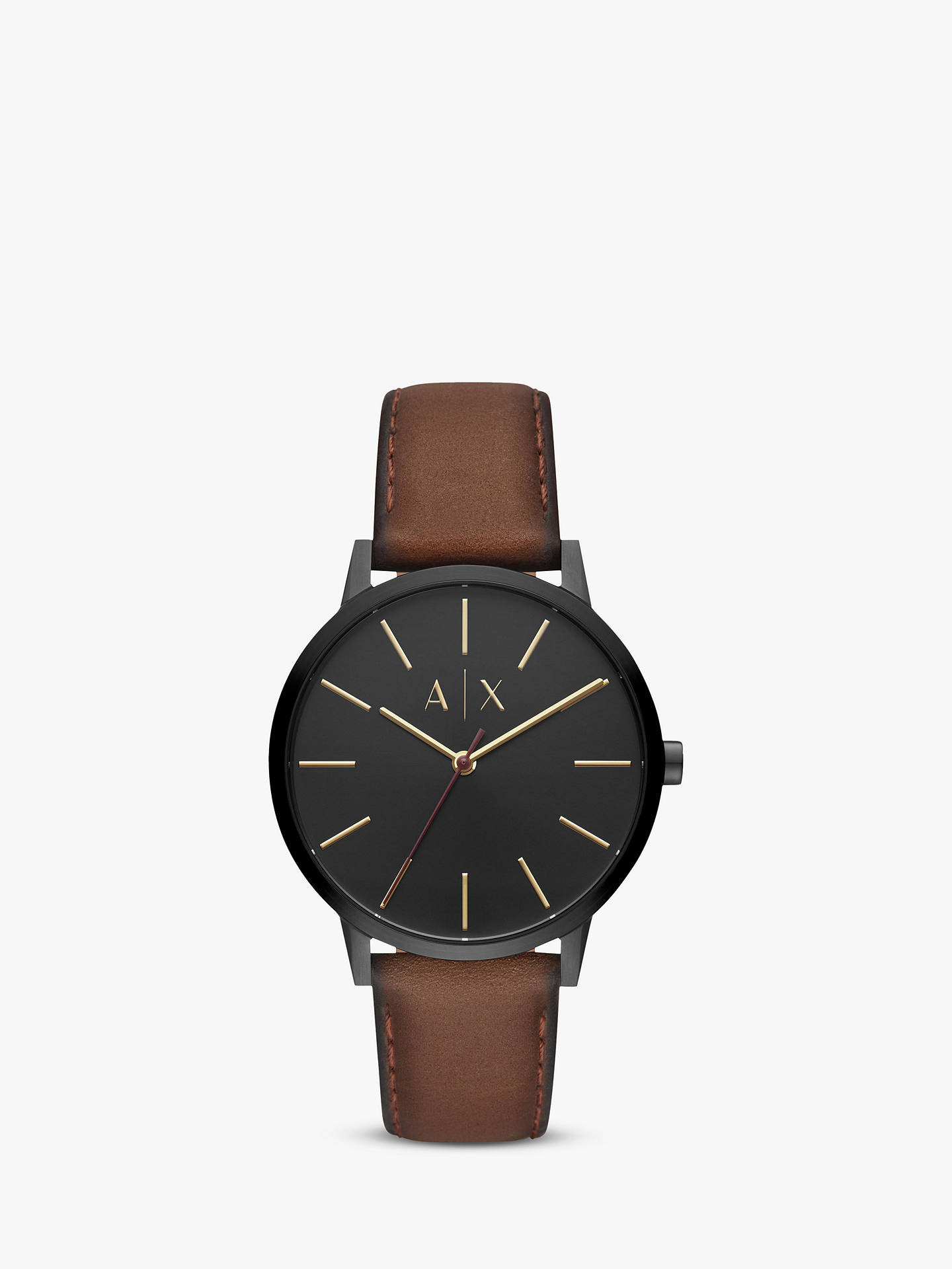 421790650 Armani Exchange Men s Leather Strap Watch at John Lewis   Partners