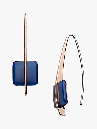 Skagen Seaglass Drop Hook Earrings, Rose Gold/Blue SKJ1135791