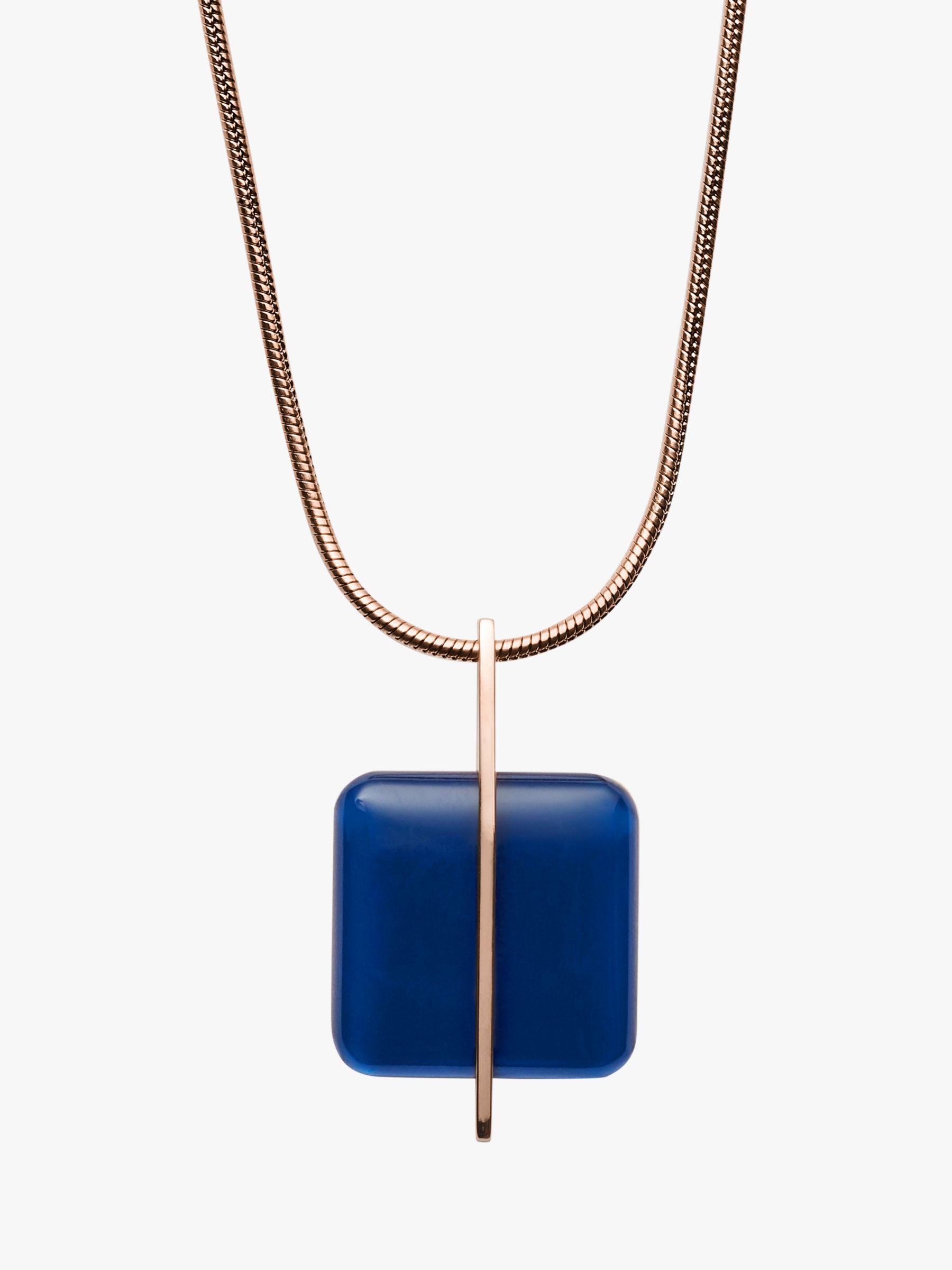 skagen Skagen Seaglass Pendant Necklace, Rose Gold/Blue SKJ1134791