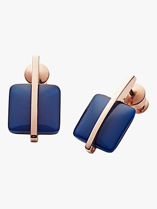 Skagen Seaglass Drop Earrings, Rose Gold/Blue SKJ1136791