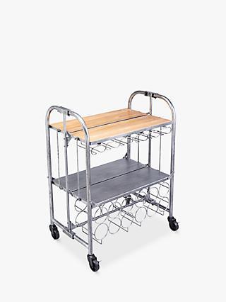 07884b4bc59f2 Kitchen Craft BarCraft Folding Bar Cart   Wine Rack Drinks Trolley