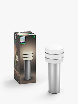 Philips Hue Tuar LED Pedestal Outdoor Light, Silver