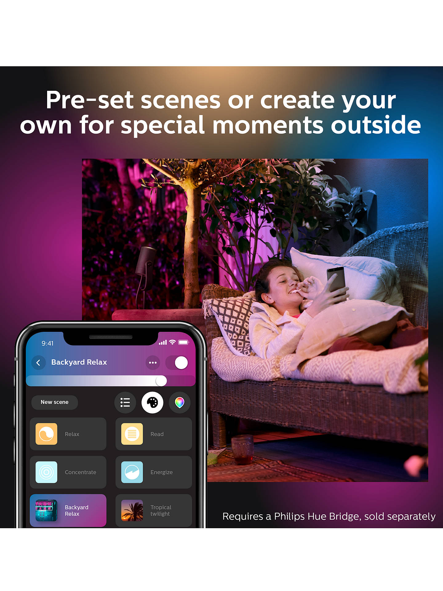 BuyPhilips Hue White and Colour Ambiance Lily LED Outdoor Spotlight Extension, Black Online at johnlewis.com