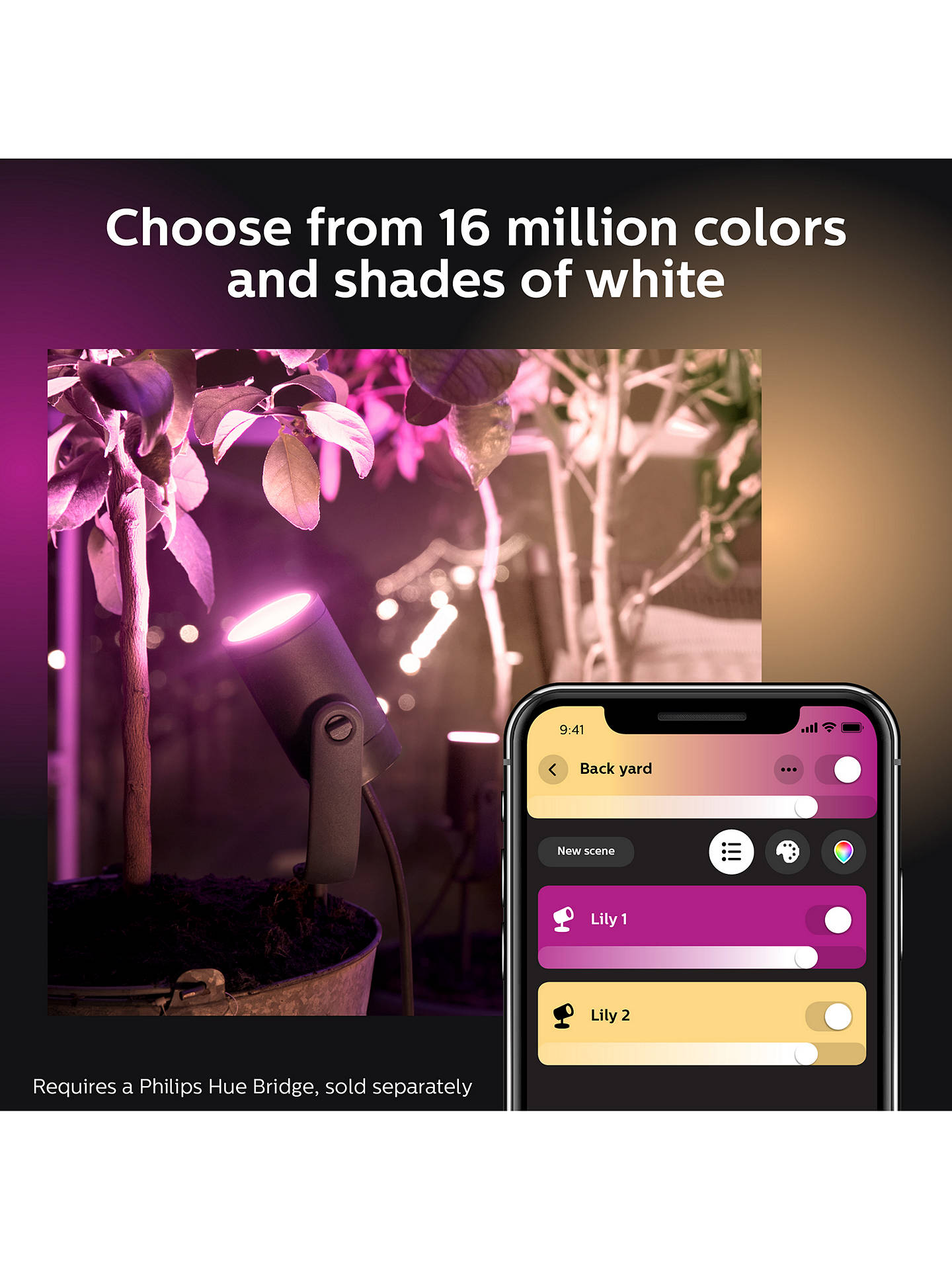 Buy Philips Hue White and Colour Ambiance Lily LED Outdoor Stake Lights, Set of 3 Online at johnlewis.com