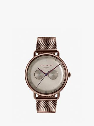 Ted Baker TE50520008 Men's George Mesh Bracelet Strap Watch, Brown/Silver