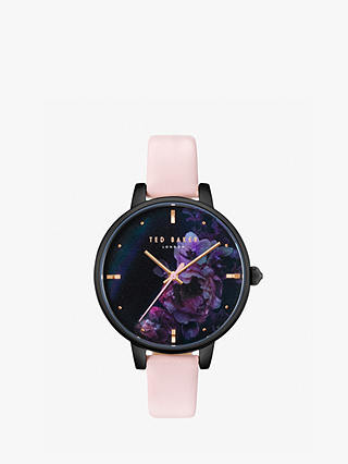 Buy Ted Baker TE50005020 Women's Kate Floral Leather Strap Watch, Blush/Black Online at johnlewis.com