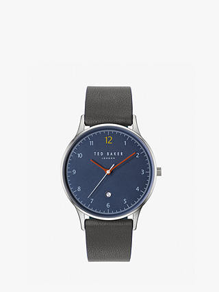 Buy Ted Baker TE50519001 Men's Ethan Date Leather Strap Watch, Grey/Blue Online at johnlewis.com
