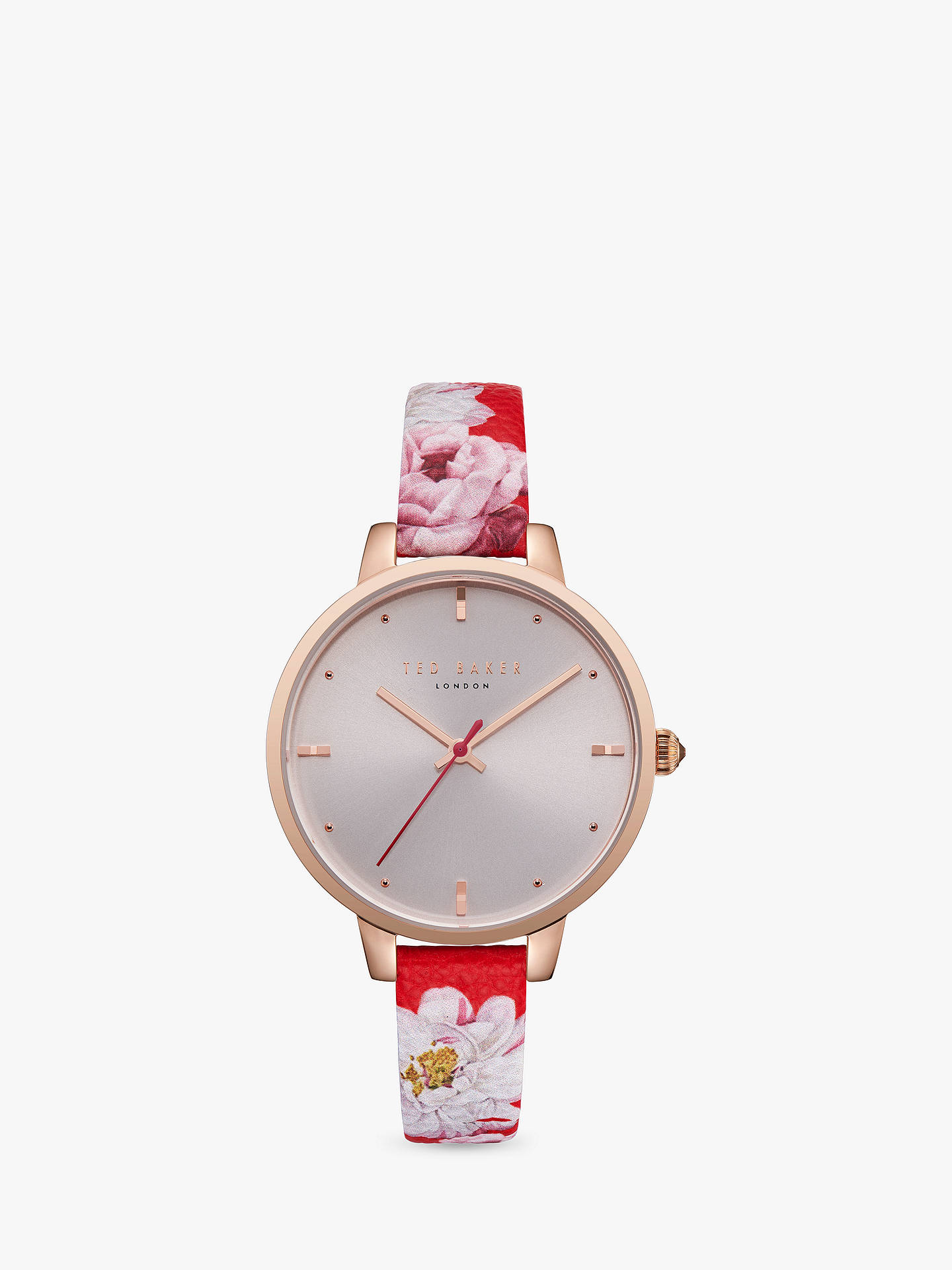 BuyTed Baker TE50005011 Women's Kate Floral Leather Strap Watch, Multi/Silver Online at johnlewis.com