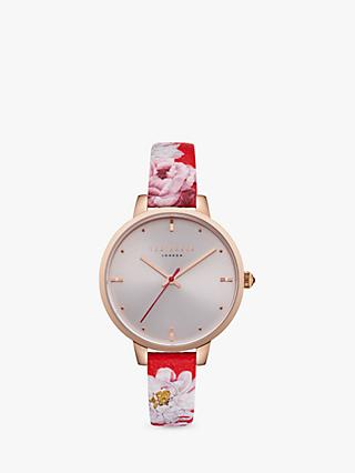 Ted Baker TE50005011 Women's Kate Floral Leather Strap Watch, Multi/Silver