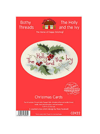 Buy Bothy Threads Holly And Ivy Card Counted Cross Stitch Kit Online at johnlewis.com