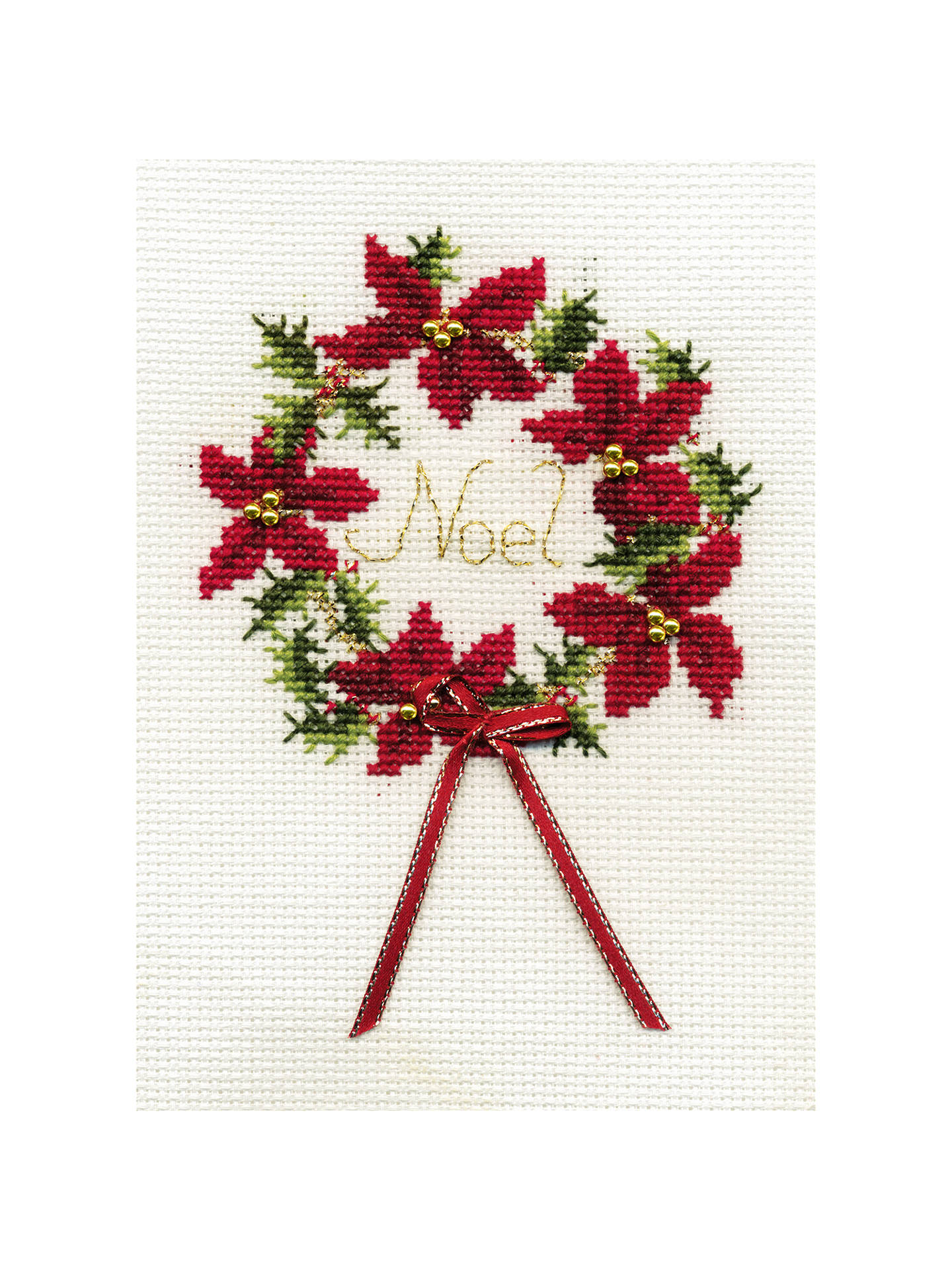 Bothy Threads Christmas Wreath Card Counted Cross Stitch Kit At John