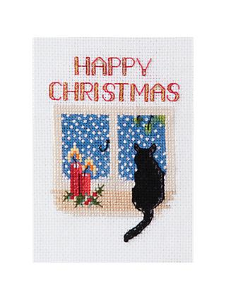 Bothy Threads Christmas Cat Card Counted Cross Stitch Kit
