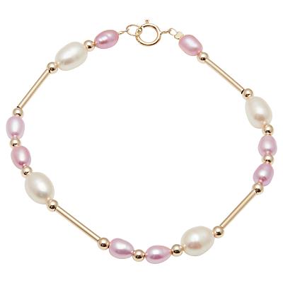 A B Davis 9ct Gold Freshwater Pearl Bar Bracelet, Pink/White