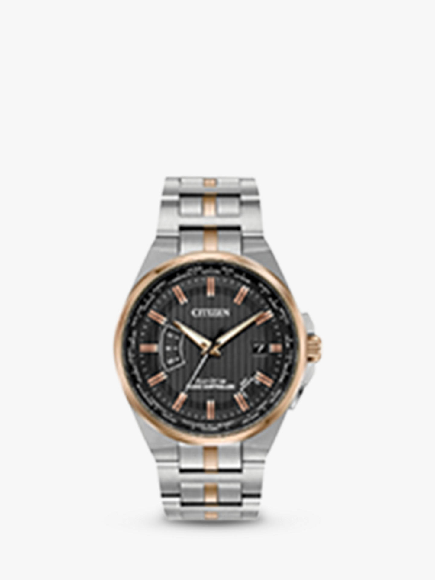 Citizen Cb0166 54h Men S World Perpetual At Eco Drive Date Bracelet Strap Watch Silver Rose Gold