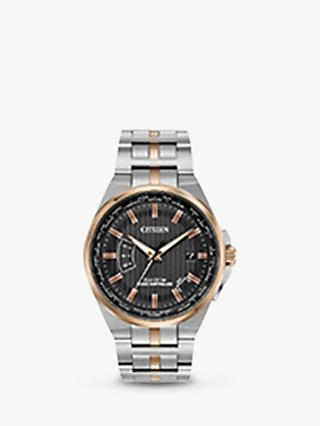 Citizen CB0166-54H Men's World Perpetual AT Eco-Drive Date Bracelet Strap Watch, Silver/Rose Gold