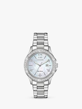 Citizen Women's Electra Diamond Date Bracelet Strap Watch, Silver/White EW2510-50D