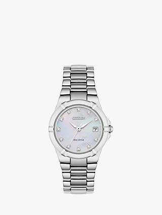 Citizen EW1531-55D Women's Diamond Date Bracelet Strap Watch, Silver/Mother of Pearl