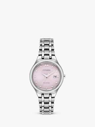 Citizen Women's Silhouette Diamond Eco-Drive Date Bracelet Strap Watch