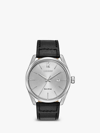 Buy Citizen Men's CTO Eco-Drive Date Leather Strap Watch, Black/Silver BM7410-01A Online at johnlewis.com