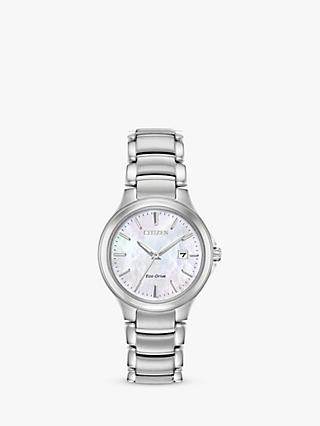 Citizen Women's Silhouette Eco-Drive Date Bracelet Strap Watch, Silver/White EW2520-56Y