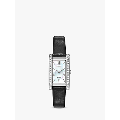 Citizen EX1470-01D Women's Silhouette Crystal Leather Strap Watch, Black/Mother of Pearl