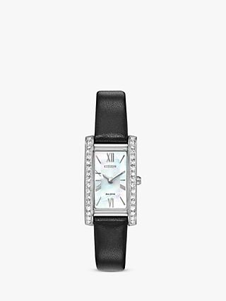 Citizen Women's Silhouette Crystal Leather Strap Watch