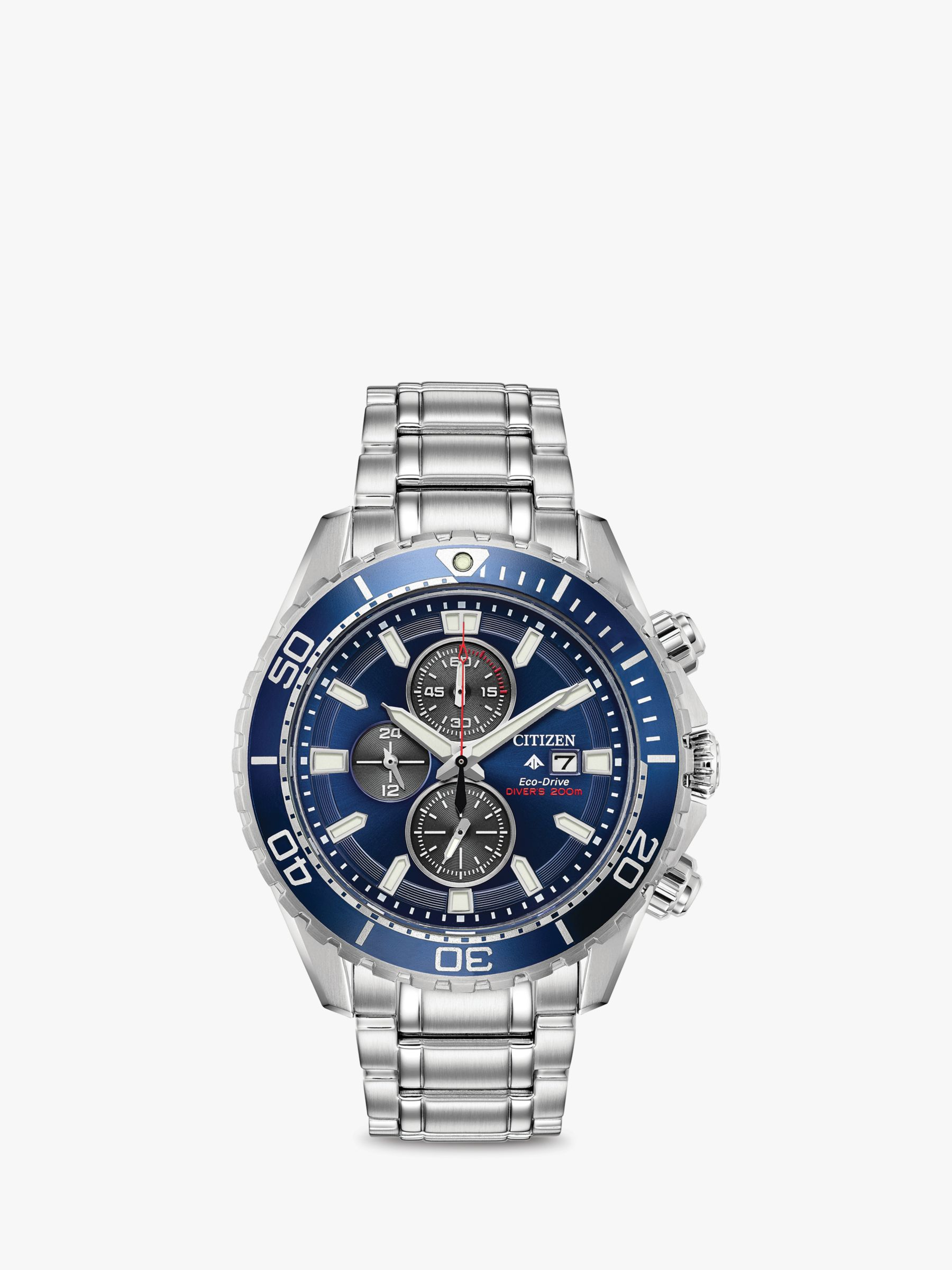 Citizen Citizen CA0710-82L Men's ProMaster Eco-Drive Chronograph Date Bracelet Strap Watch, Silver/Blue