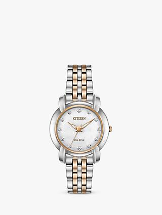 Citizen EM0716-58A Women's Jolie Eco-Drive Diamond Bracelet Strap Watch, Silver/Rose Gold