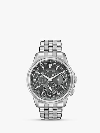 Citizen BU2021-51H Men's Calendrier Eco-Drive Chronograph Bracelet Strap Watch, Silver/Grey