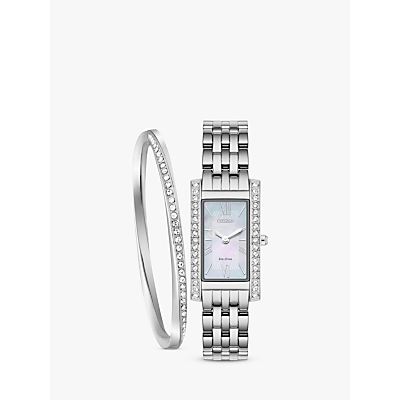 Image of Citizen EX1470-60D SET Women's Eco-Drive Crystal Bracelet Strap Watch and Bangle Gift Set, Silver/Mother of Pearl