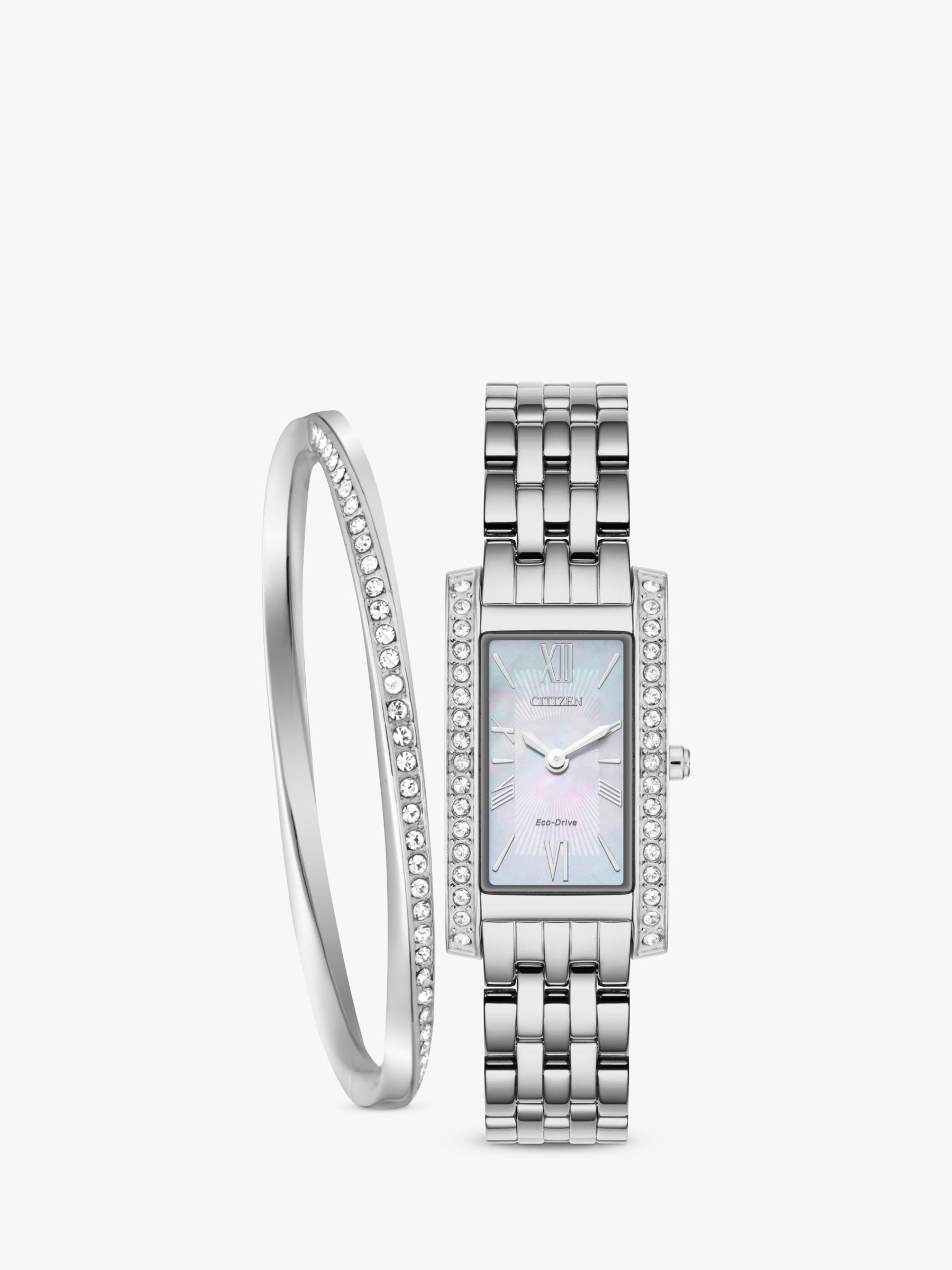 Citizen Citizen EX1470-60D SET Women's Eco-Drive Crystal Bracelet Strap Watch and Bangle Gift Set, Silver/Mother of Pearl