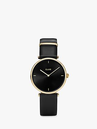 CLUSE CL61006 Women's Triomphe Leather Strap Watch, Black