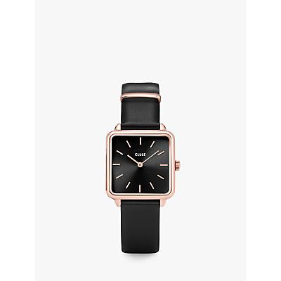 CLUSE Women's La Garconne Square Leather Strap Watch