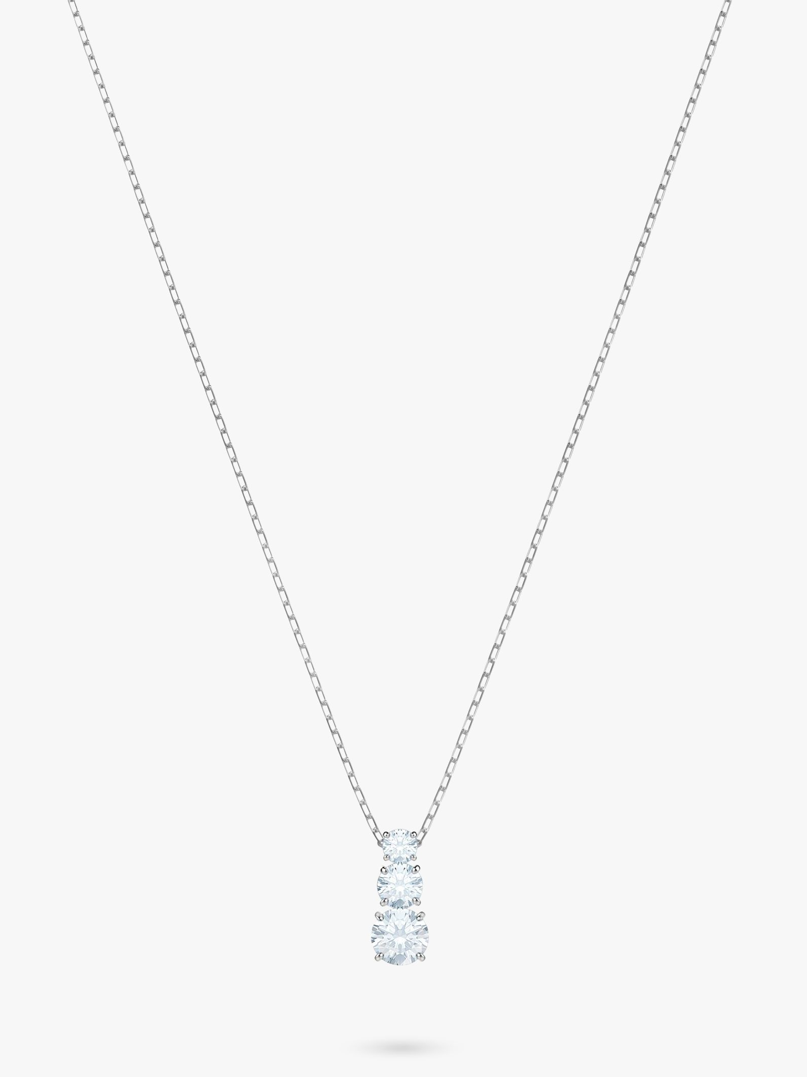 Swarovski Swarovski Attract Triple Crystal Pendant Necklace, Silver/Clear