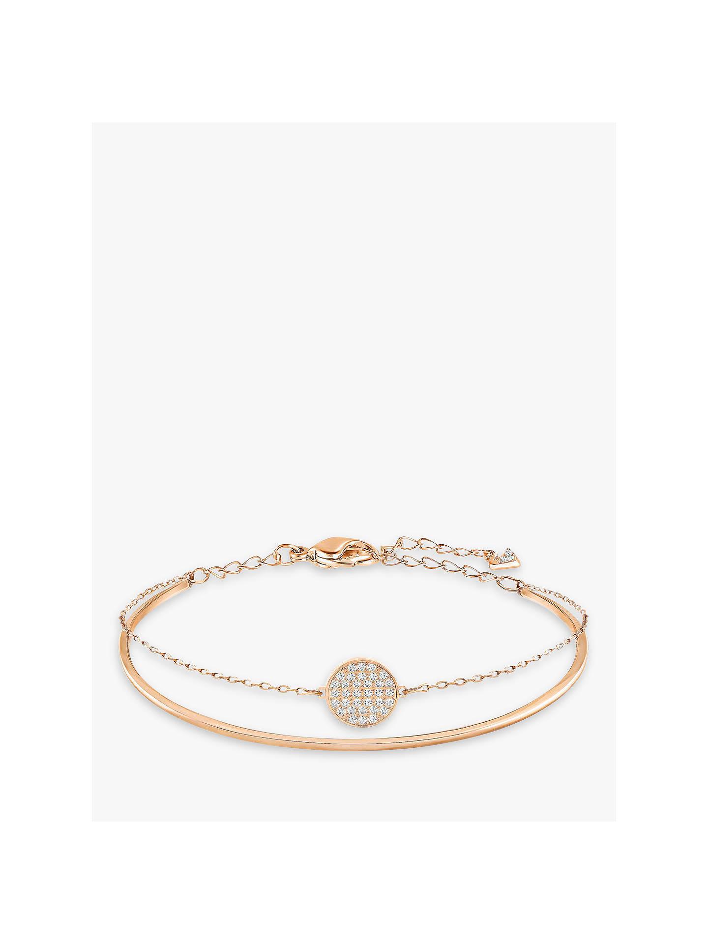 5a5f760ee Buy Swarovski Romance Crystal Round Charm Bangle, Rose Gold Online at  johnlewis.com