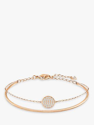 Swarovski Romance Crystal Round Charm Bangle, Rose Gold