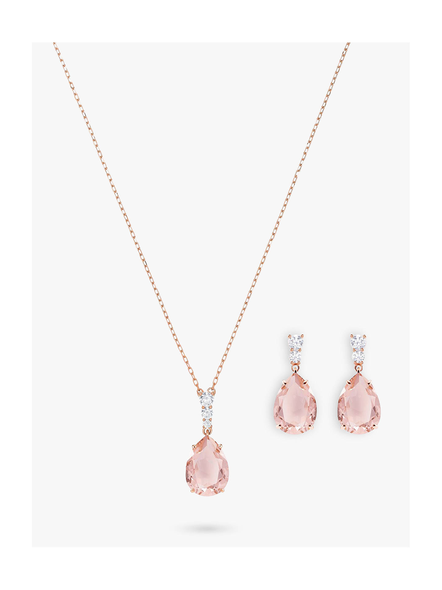 BuySwarovski Vintage Crystal Teardrop Drop Earrings and Pendant Necklace Jewellery Set, Rose Gold/Pink Online at johnlewis.com