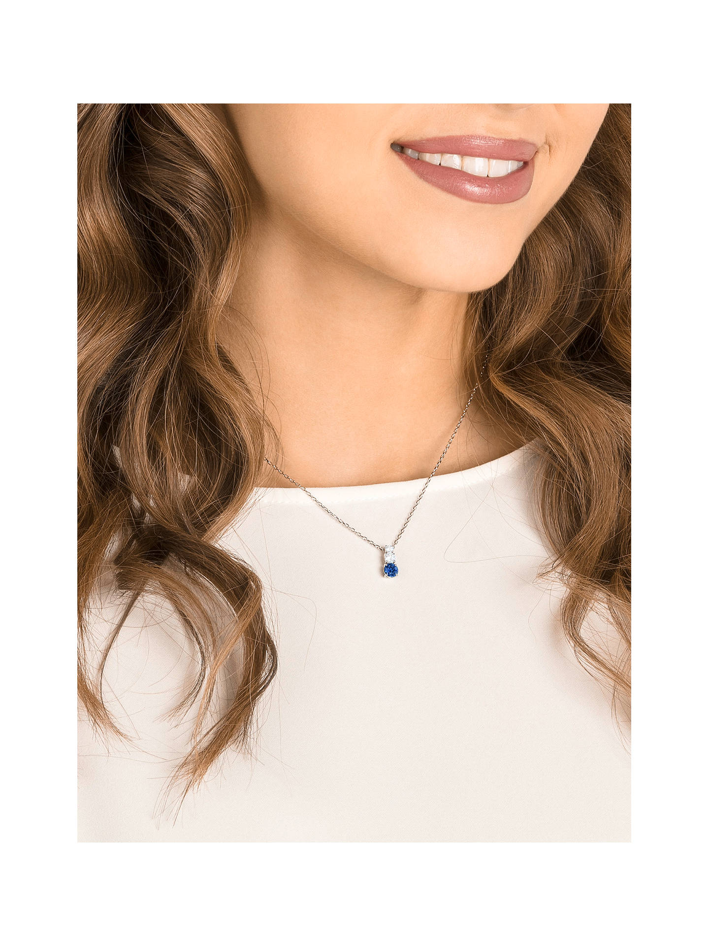 Buy Swarovski Attract Triple Crystal Pendant Necklace, Silver/Blue Online at johnlewis.com