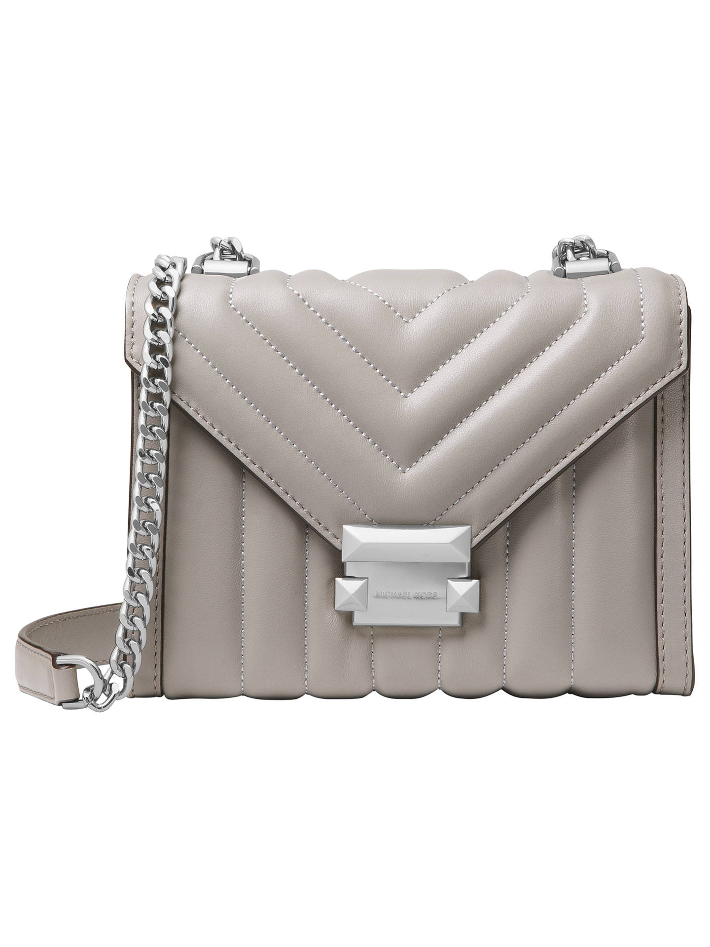 944270d14dedc4 Buy MICHAEL Michael Kors Whitney Small Quilted Leather Shoulder Bag, Pearl  Grey Online at johnlewis ...