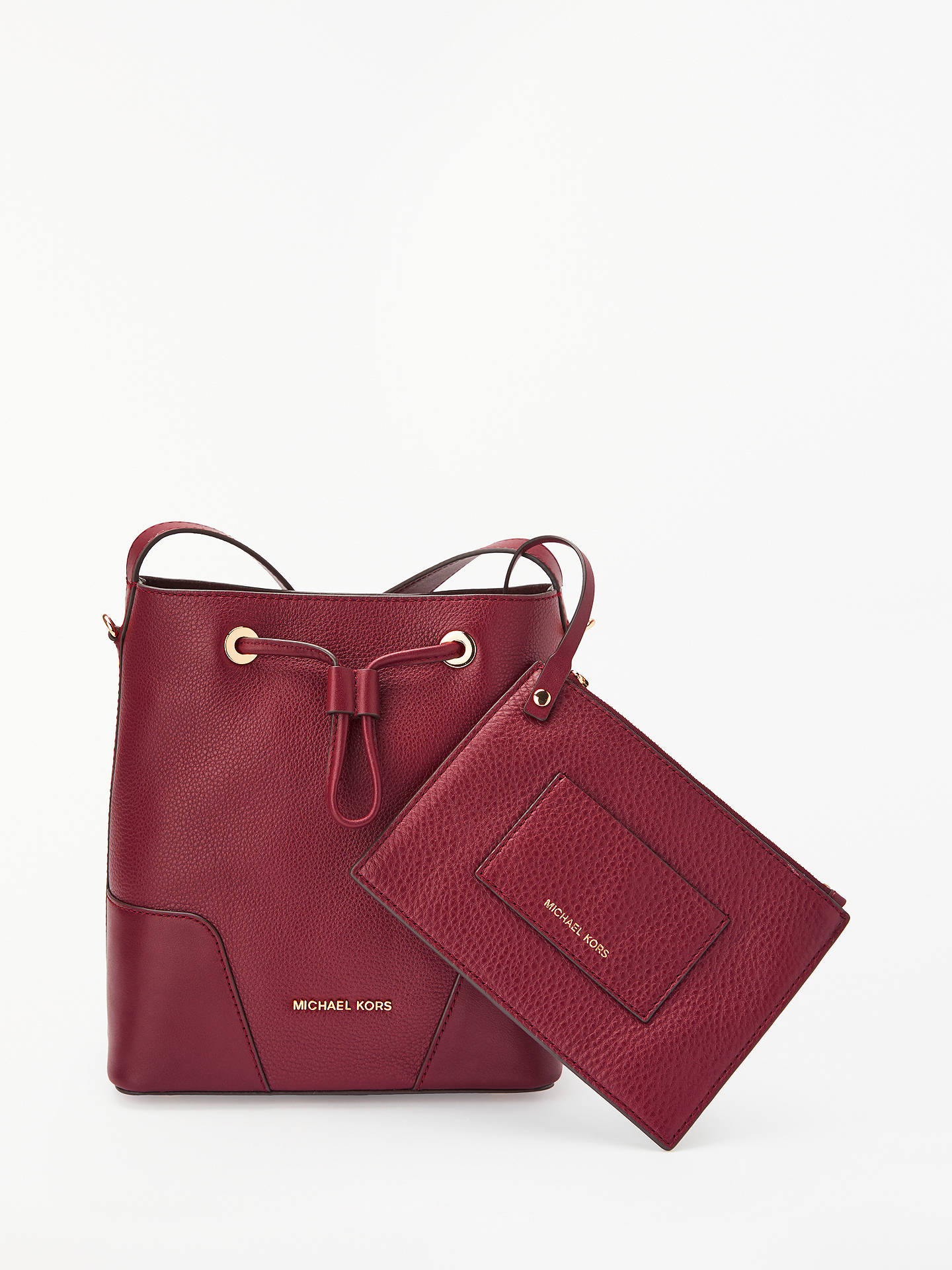f403fcb494de Buy MICHAEL Michael Kors Cary Small Leather Bucket Bag, Oxblood Online at  johnlewis.com ...