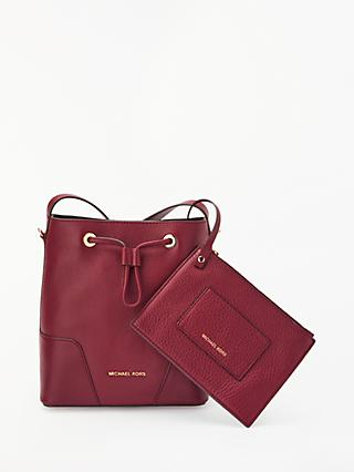 Michael Kors Cary Small Leather Bucket Bag Oxblood
