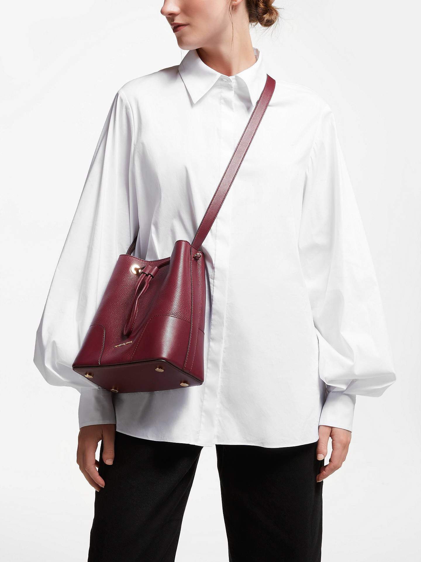 5f2da4b8913b ... Buy MICHAEL Michael Kors Cary Small Leather Bucket Bag, Oxblood Online  at johnlewis.com ...