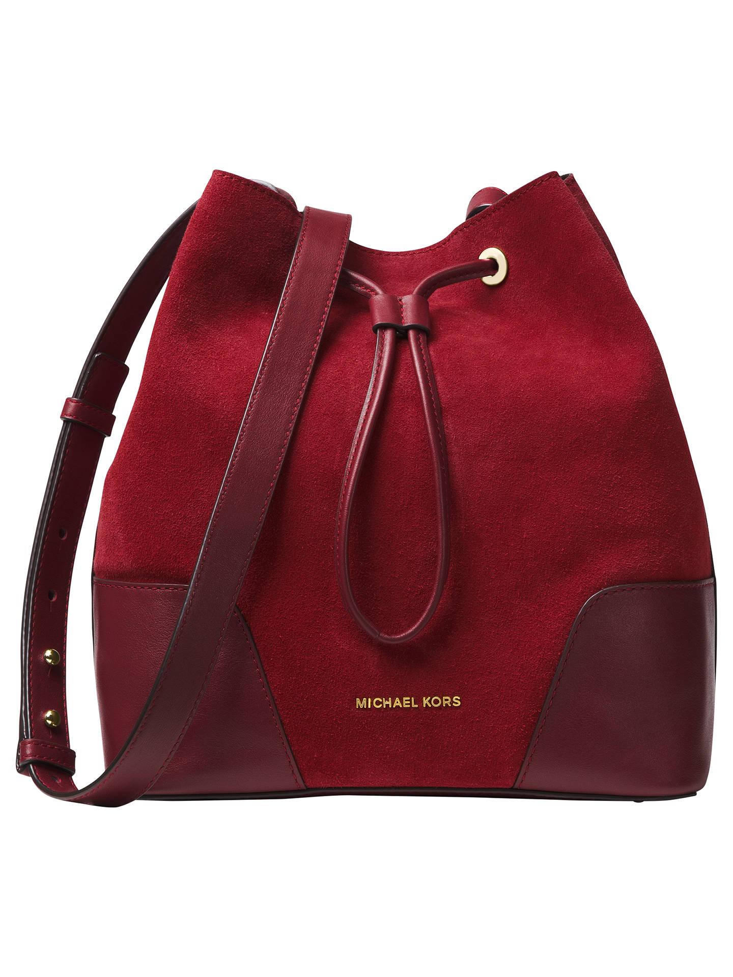 4893331b38bd Buy MICHAEL Michael Kors Cary Medium Suede Bucket Bag, Oxblood/Maroon  Online at johnlewis ...