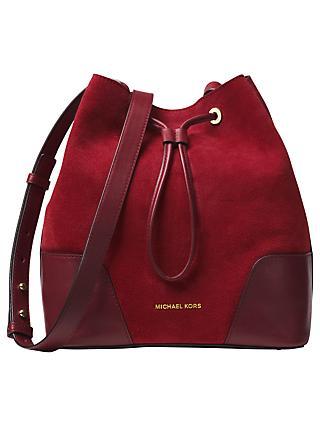 Michael Kors Cary Medium Suede Bucket Bag Oxblood Maroon